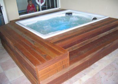 wooden deck spa bath
