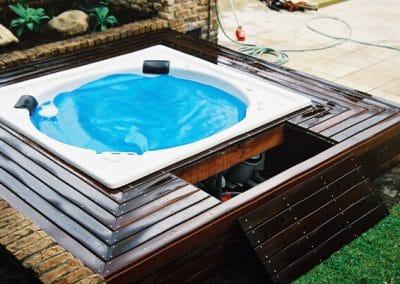 round hot tub on deck